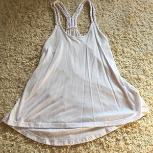 XS Mudd brand White Tank Top with Braided Back
